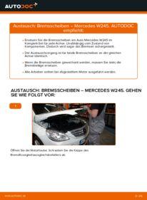 Wie der Wechsel durchführt wird: Bremsscheiben B 180 CDI 2.0 (245.207) Mercedes W245 tauschen