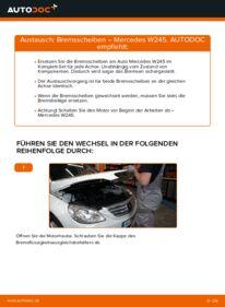 Wie der Wechsel durchführt wird: Bremsscheiben Mercedes W245 B 180 CDI 2.0 (245.207) B 200 CDI 2.0 (245.208) B 170 1.7 (245.232) tauschen