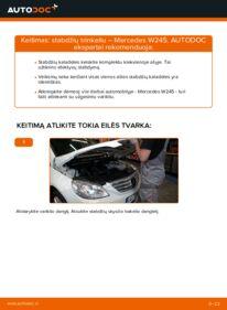 Kaip atlikti keitimą: B 180 CDI 2.0 (245.207) Mercedes W245 Stabdžių Kaladėlės