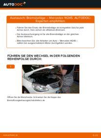 Wie der Wechsel durchführt wird: Bremsbeläge B 180 CDI 2.0 (245.207) Mercedes W245 tauschen