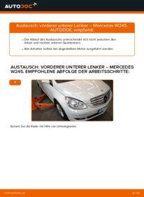 Wie der Wechsel durchführt wird: Querlenker B 180 CDI 2.0 (245.207) Mercedes W245 tauschen