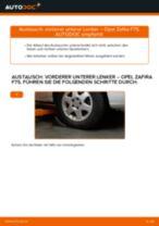 Wie Opel Zafira F75 vorderer unterer Lenker wechseln - Schritt für Schritt Anleitung