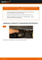 Kako zamenjati avtodel zavorne ploščice spredaj na avtu Opel Zafira F75 – vodnik menjave