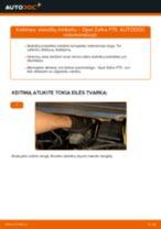 Kaip pakeisti Opel Zafira F75 stabdžių trinkeliu: priekis - keitimo instrukcija