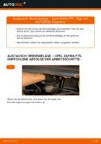 Wie Opel Zafira F75 Bremsbeläge hinten wechseln - Schritt für Schritt Anleitung