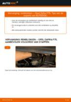 PDF handleiding voor vervanging: Remblokset OPEL Zafira A (T98) achter en vóór
