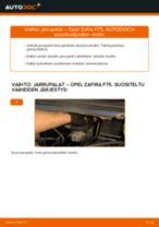 Kuinka vaihtaa jarrupalat taakse Opel Zafira F75-autoon – vaihto-ohje