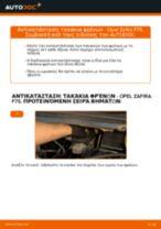 Πώς να αλλάξετε τακάκια φρένων πίσω σε Opel Zafira F75 - Οδηγίες αντικατάστασης