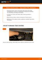 Kā nomainīt aizmugurē un priekšā Bremžu diski OPEL ZAFIRA A (F75_) - instrukcijas tiešsaistes