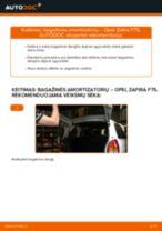 Kaip pakeisti Opel Zafira F75 bagažinės amortizatorių - keitimo instrukcija