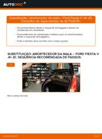 Como realizar a substituição de Amortecedor Da Mala no 1.4 TDCi Ford Fiesta V jh jd
