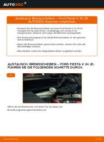 Wie der Wechsel durchführt wird: Bremsscheiben 1.4 TDCi Ford Fiesta Mk5 tauschen