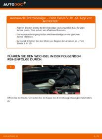 Wie der Wechsel durchführt wird: Bremsbeläge 1.4 TDCi Ford Fiesta V jh jd tauschen