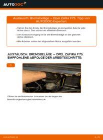 Wie der Wechsel durchführt wird: Bremsbeläge 2.0 DTI 16V (F75) Opel Zafira A tauschen