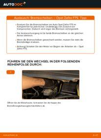 Wie der Wechsel durchführt wird: Bremsscheiben Opel Zafira f75 2.0 DTI 16V (F75) 1.8 16V (F75) 2.2 DTI 16V (F75) tauschen