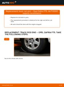 How to carry out replacement: Track Rod End on 2.0 DTI 16V (F75) Opel Zafira f75