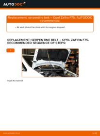 How to carry out replacement: Poly V-Belt on 2.0 DTI 16V (F75) Opel Zafira f75