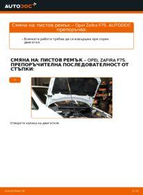 Как се извършва смяна на: Многоклинов(пистов) ремък на 2.0 DTI 16V (F75) Opel Zafira f75