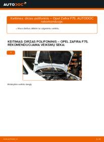 Kaip atlikti keitimą: 2.0 DTI 16V (F75) Opel Zafira f75 V formos rumbuotas diržas