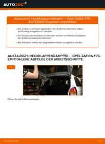 Wie der Wechsel durchführt wird: Heckklappendämpfer Opel Zafira f75 2.0 DTI 16V (F75) 1.8 16V (F75) 2.2 DTI 16V (F75) tauschen