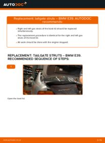 How to carry out replacement: Tailgate Struts on 523i 2.5 BMW E39