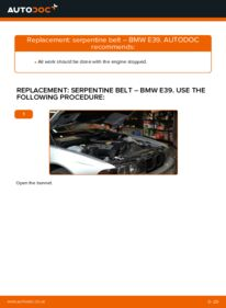 How to carry out replacement: Poly V-Belt on 523i 2.5 BMW E39
