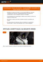 Como mudar discos de travão da parte traseira em Audi A3 8PA - guia de substituição