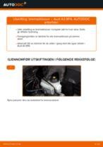 Hvordan bytte og justere Bremsekloss AUDI A3: pdf håndbøker