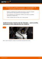 Como mudar pastilhas de travão da parte traseira em Audi A3 8PA - guia de substituição