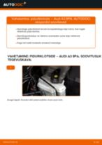 Paigaldus Piduriklotsid AUDI A3 Sportback (8PA) - samm-sammuline käsiraamatute