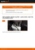 When to change Caliper on AUDI A3 Sportback (8PA): pdf manual