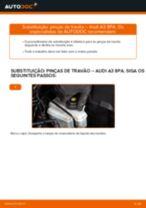 Como mudar pinças de travão da parte traseira em Audi A3 8PA - guia de substituição