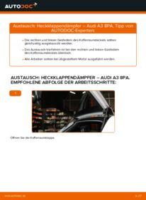 Wie der Wechsel durchführt wird: Heckklappendämpfer 2.0 TDI 16V Audi A3 8P tauschen
