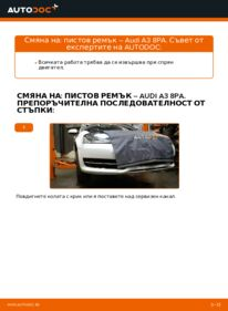Как се извършва смяна на: Многоклинов(пистов) ремък на 2.0 TDI 16V Audi A3 8pa