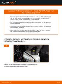 Wie der Wechsel durchführt wird: Bremsscheiben 2.0 TDI 16V Audi A3 8P tauschen