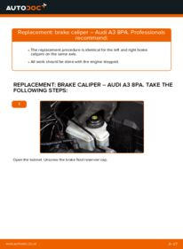 How to carry out replacement: Brake Calipers on 2.0 TDI 16V Audi A3 8pa