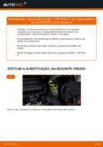 Como mudar discos de travão da parte dianteira em VW Polo 5 - guia de substituição