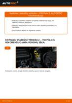 Kaip pakeisti VW Polo 5 stabdžių trinkeliu: priekis - keitimo instrukcija