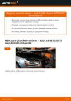 Menjava spredaj in zadaj Zavorni kolut AUDI A4 (8K2, B8): vodič pdf