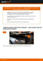 Como mudar discos de travão da parte dianteira em Audi A4 B8 - guia de substituição