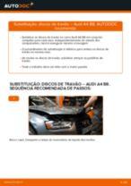 Como mudar discos de travão da parte traseira em Audi A4 B8 - guia de substituição