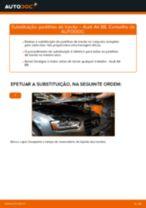 Como mudar pastilhas de travão da parte traseira em Audi A4 B8 - guia de substituição