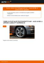 Elülső alsó felfüggesztő kar-csere Audi A4 B8 gépkocsin – Útmutató