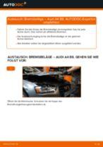 AUDI A4 (8K2, B8) Bremsbeläge wechseln vorderachse und hinterachse: Anleitung pdf