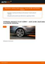 Poradnik online na temat tego, jak wymienić Wzmocnienie krzyżowe zawieszenia w AUDI A4 (8K2, B8)