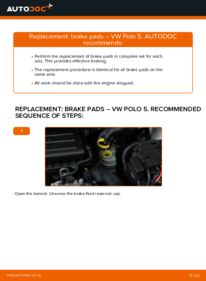 How to carry out replacement: Brake Pads on 1.6 TDI VW Polo 5 Saloon
