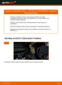 Kaip atlikti keitimą: 1.6 TDI VW Polo 5 Sedanas Stabdžių diskas