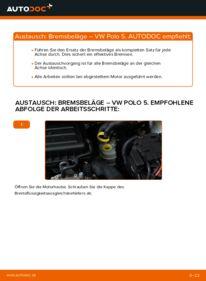 Wie der Wechsel durchführt wird: Bremsbeläge VW Polo 5 Limousine 1.6 TDI 1.4 1.2 TDI tauschen