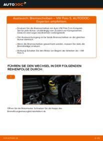 Wie der Wechsel durchführt wird: Bremsscheiben 1.6 TDI VW Polo 5 Limousine tauschen