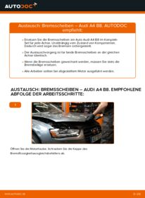 Wie der Wechsel durchführt wird: Bremsscheiben 2.0 TDI Audi A4 B8 Limousine tauschen